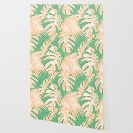 Tropical Palm Leaves on Vivid Pastel Green Wallpaper