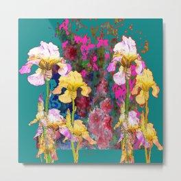 Decorative Yellow & Pink Spring Teal Iris Garden Metal Print