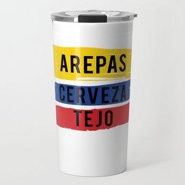 Funny Tejo print Gift Arepas Cerveza Tejo Colombia flag product Travel Mug