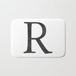 Letter R Initial Monogram Black and White Bath Mat