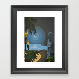 Tiki At Moonlight Beach Framed Art Print
