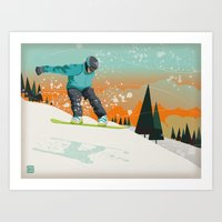snowboard Art Prints featuring Snowboard Jump by Park City Posters