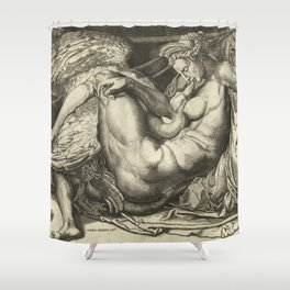 "Cornelis Bos ""Leda and the Swan"" after Michelangelo Buonarroti Shower Curtain"