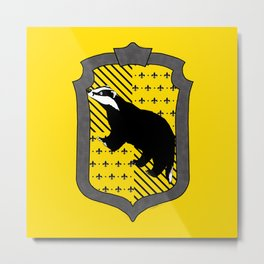 HP Hufflepuff House Crest with stripes Metal Print