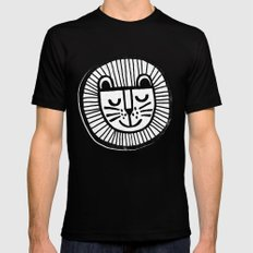 HAPPY LION Mens Fitted Tee MEDIUM Black