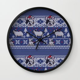 Christmas Frenchie Wall Clock