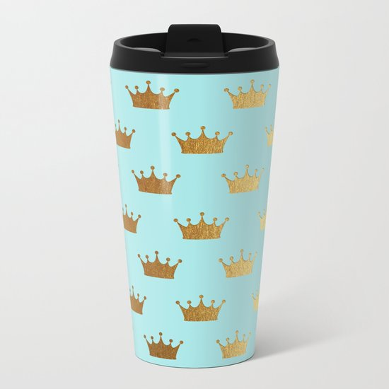 Gold Glitter effect crowns on aqua - Heraldy Pattern for Princesses on #Society6 Metal Travel Mug