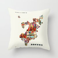 boston map Throw Pillows featuring boston map by bri.buckley