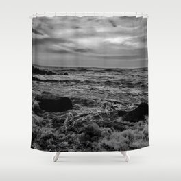 Black and White SEA Shower Curtain