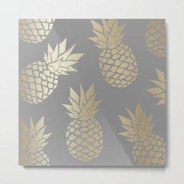 Pineapple Art, Gray and Gold Metal Print