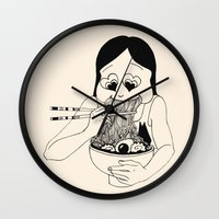 ramen Wall Clocks featuring I Heart Ramen by Amy Consolo