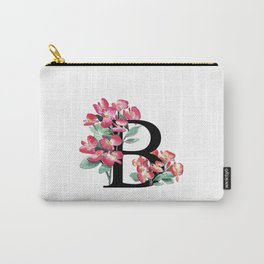 Letter 'B' Begonia Flower Monogram Typography Carry-All Pouch