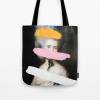 chad wys Tote Bags featuring Brutalized Gainsborough 2 by Chad Wys