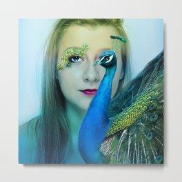 woman and peacock Metal Print