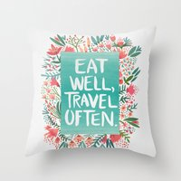 eat well travel often Throw Pillows featuring Eat Well, Travel Often Bouquet  by Cat Coquillette