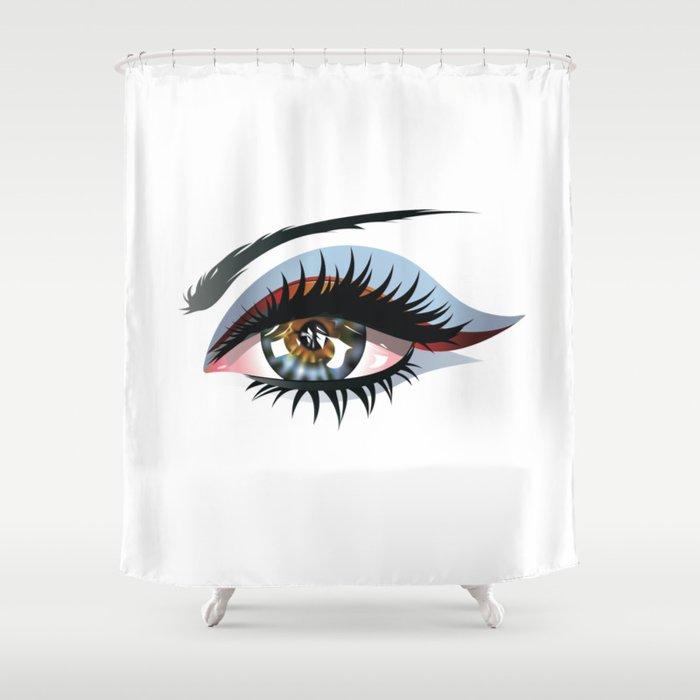 Blue Eye With Make Up Shower Curtain By Annartshock