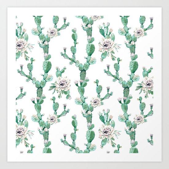 Cactus Rose Climb on White Art Print