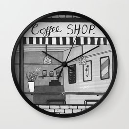 London Coffee Shop in Black and White Wall Clock