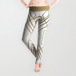 Abstract modern geometrical lines faux gold Leggings