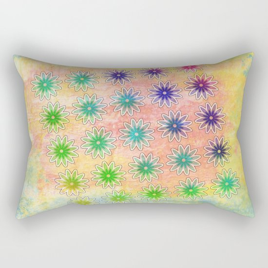 Abstract flower pattern on textured pastel background Rectangular Pillow