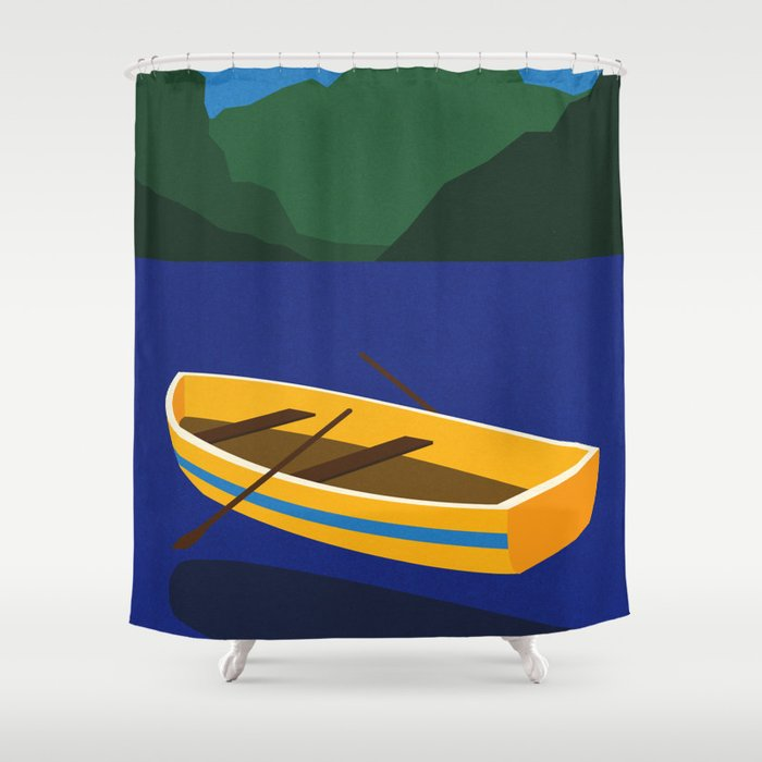 Boat On The Mountain Lake Shower Curtain