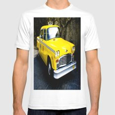 Yellow Cab (1) MEDIUM White Mens Fitted Tee