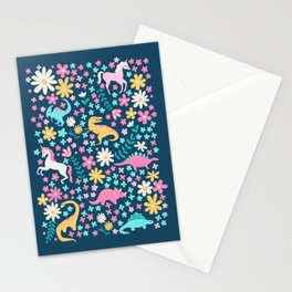 Floral Burst with Dinosaurs + Unicorns in Neon Stationery Cards