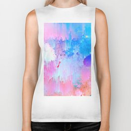 Abstract Candy Glitch - Pink, Blue and Ultra violet #abstractart #glitch Biker Tank