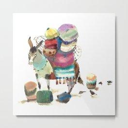 Watercolor cute donkey kids illustration Metal Print
