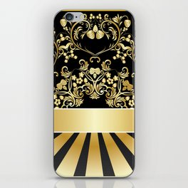 Golden floral with strawberries iPhone Skin
