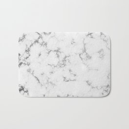 Soft White Marble With Smoky Silver Veins Bath Mat