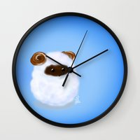 sheep Wall Clocks featuring Sheep by quackso