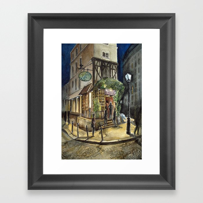 Postcards from Paris - Montmartre by Night: Le Basilic Brasserie Framed Art Print