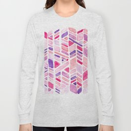 Pink Geometric Hand-painted Pattern Long Sleeve T-shirt