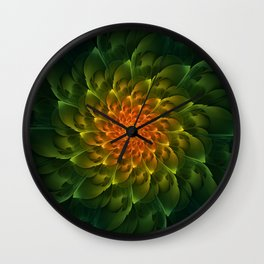 Beautiful Orange-Green Desert BarrelCactus Spiral Wall Clock