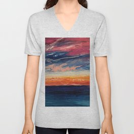 Abstract Sunset Unisex V-Neck