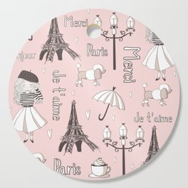 Paris Girl - Pink Cutting Board