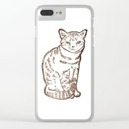 cat stamp hand made Clear iPhone Case
