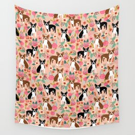 Boston Terrier cute floral pattern spring summer happy pet portrait dog person gift must haves dogs Wall Tapestry
