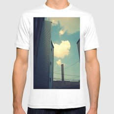 Chicago Clouds and Smokestack SMALL White Mens Fitted Tee