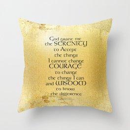 Serenity Prayer Kelt on Yellow Throw Pillow