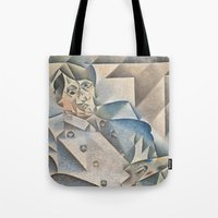 pablo picasso Tote Bags featuring Portrait of Pablo Picasso by ArtMasters