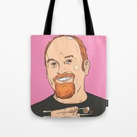 louis ck Tote Bags featuring Louis CK With Sushi by Jason Adams