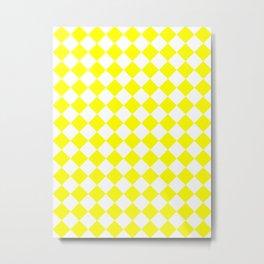 Diamonds - White and Yellow Metal Print
