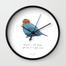 wearing a hat always put him in a good mood Wall Clock