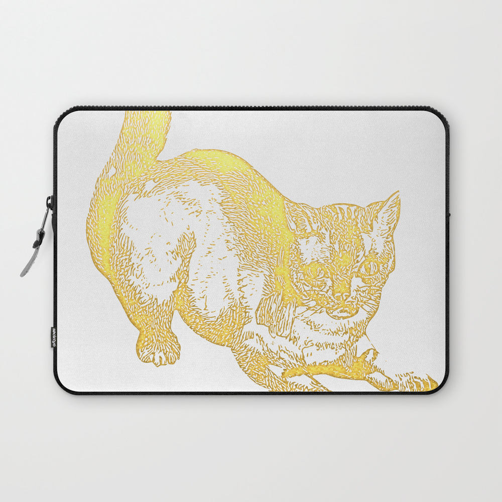 Cute Cat In Gold Laptop Sleeve LSV7875112