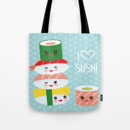I love sushi. Kawaii funny sushi set with pink cheeks and big eyes, emoji. Blue japanese pattern Tote Bag