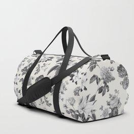 Vintage flowers on cream blackground Duffle Bag