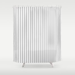 Mattress Ticking Narrow Striped Pattern in Charcoal Grey and White Shower Curtain