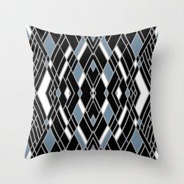 Art Deco Zoom Blue Throw Pillow